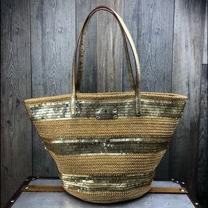 Kate Spade Straw and Gold Sequin Tote Bag